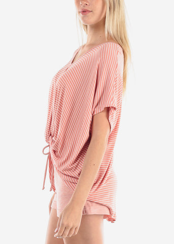 Image of Women's Junior Ladies Cute Casual Trendy Super Soft Stripe Mauve High Low Tunic Top With Front Knot Detail