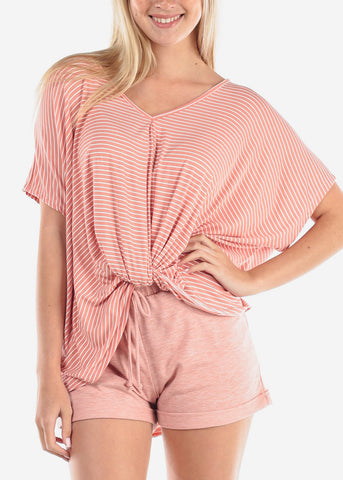 Women's Junior Ladies Cute Casual Trendy Super Soft Stripe Mauve High Low Tunic Top With Front Knot Detail