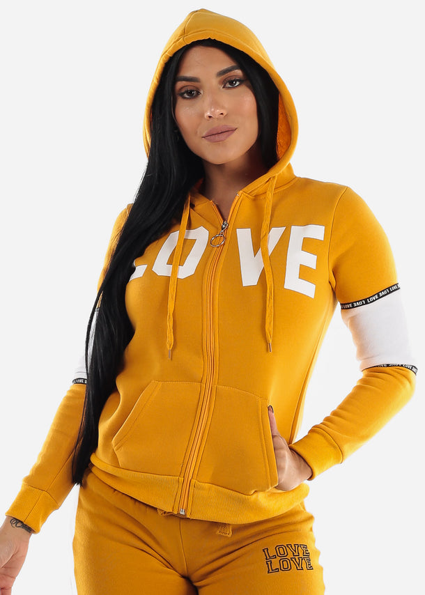 Full Zip Up Yellow Hooded Sweater