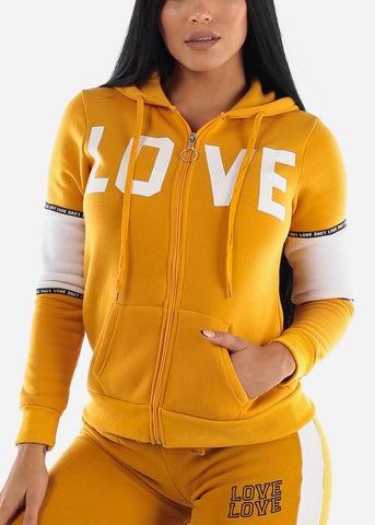 "Full Zip Up Yellow Hooded Sweater ""Love"""