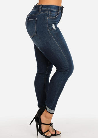 High Waisted Distressed Dark Wash Ankle Skinny Jeans