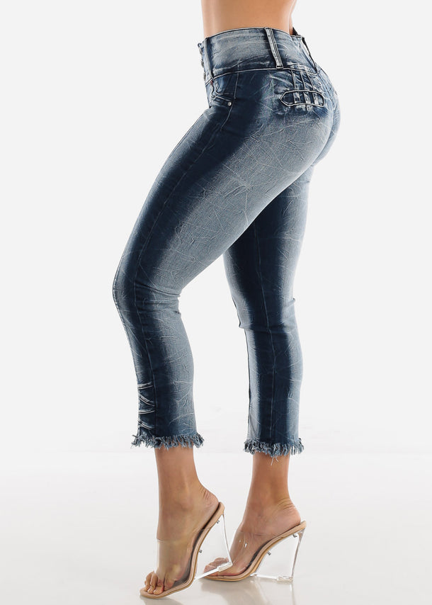Butt Lifting Raw Hem Skinny Ankle Jeans