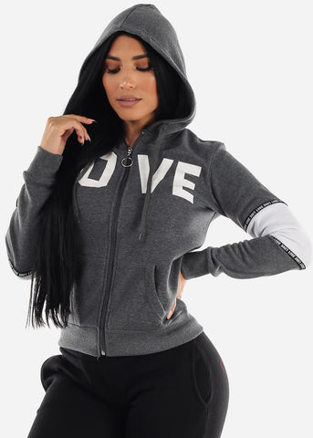 "Image of Full Zip Up Charcoal Hooded Hoodie ""Love"""