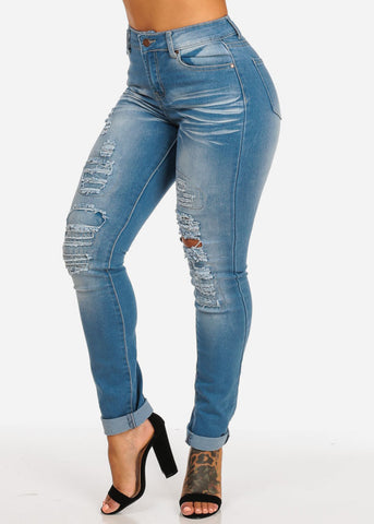 Cheap Med Wash Ripped Skinny Jeans