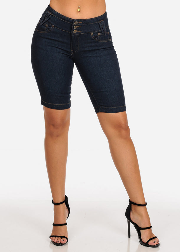 Dark Wash Butt Lifting Bermuda Shorts