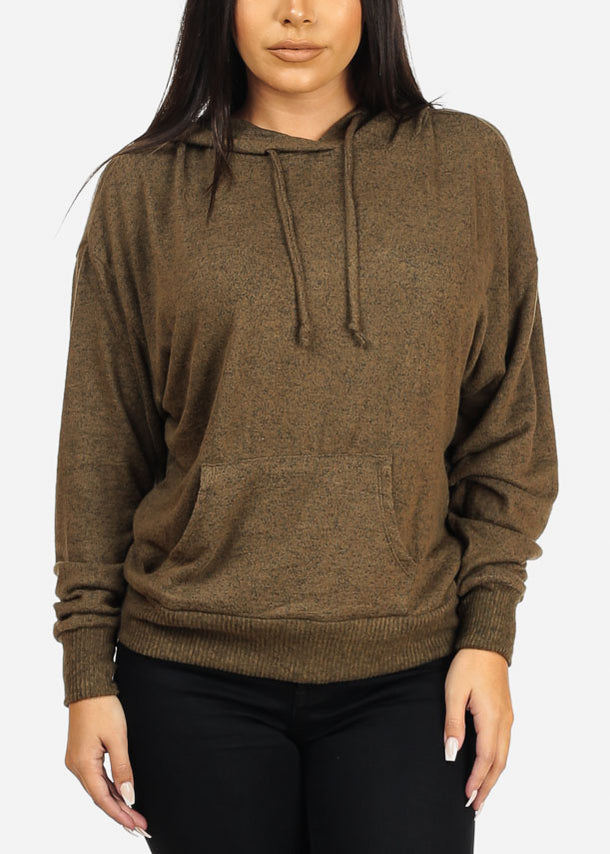 Casual Hooded Olive Sweatshirt