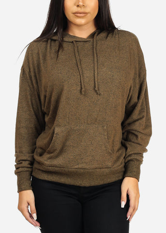 Image of Casual Hooded Olive Sweatshirt