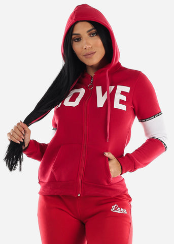 "Full Zip Up Red Hooded Sweater ""Love"""