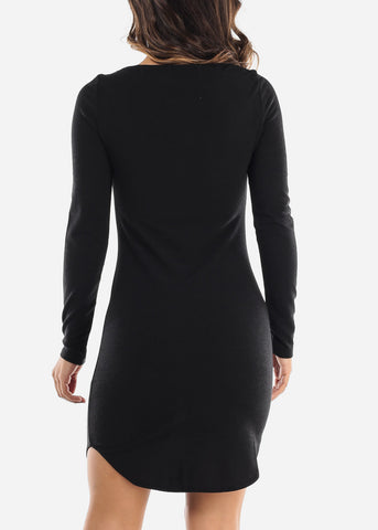 Image of Casual Black Boat Neckline Dress