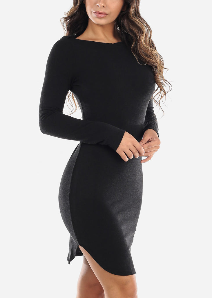 Casual Black Boat Neckline Dress