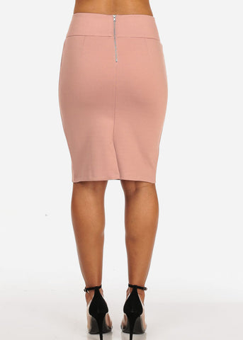 Image of Women's Sexy Office Business Wear Clubwear High Waisted Lace Up Detail Stretchy Pencil Midi Rose Skirt