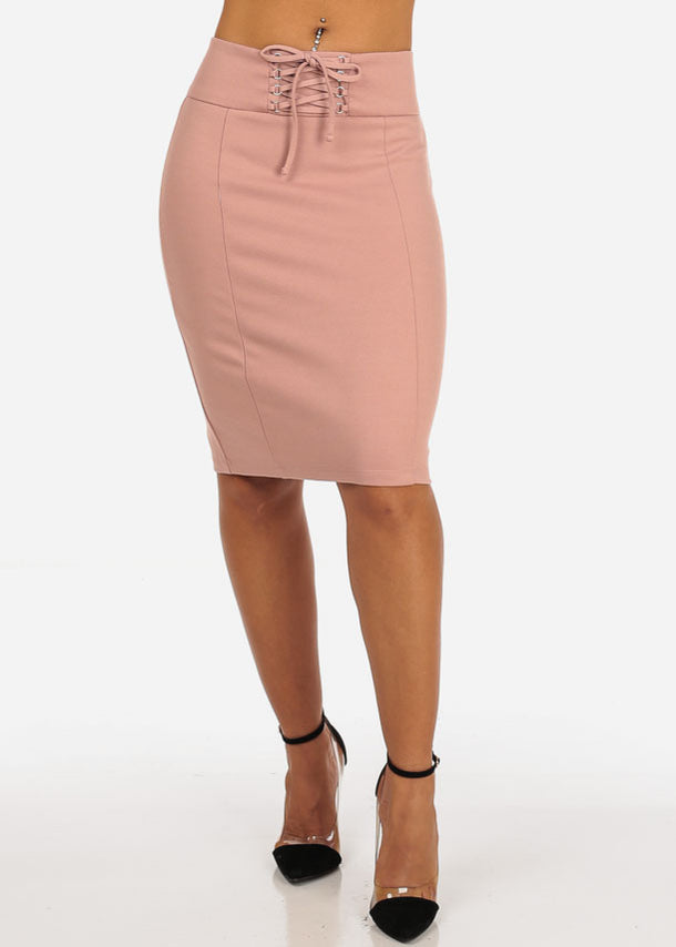 Women's Sexy Office Business Wear Clubwear High Waisted Lace Up Detail Stretchy Pencil Midi Rose Skirt