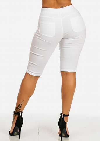 Image of Drawstring Stretchy White Casual Capri