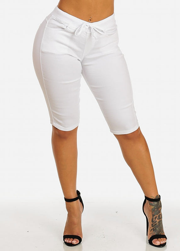 Drawstring Stretchy White Casual Capri