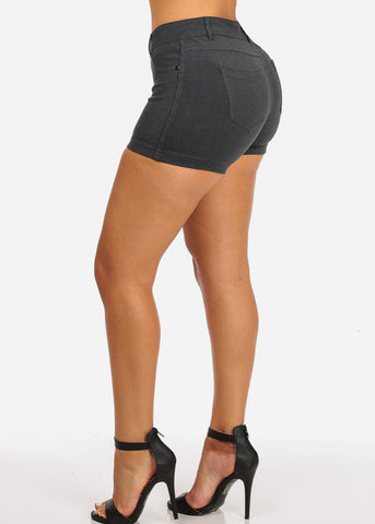 Image of Charcoal Casual Stretchy Shorty Shorts