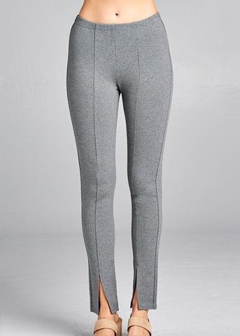 Front Slit Hem Detail Grey Pants