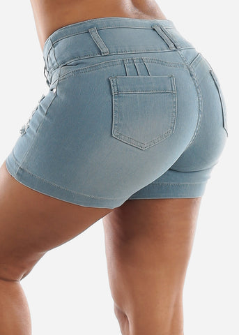 Image of Butt Lifting Ripped Denim Shorts