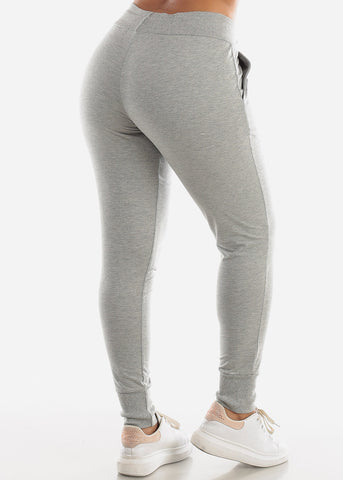 Drawstring Waist Grey Jogger Pants