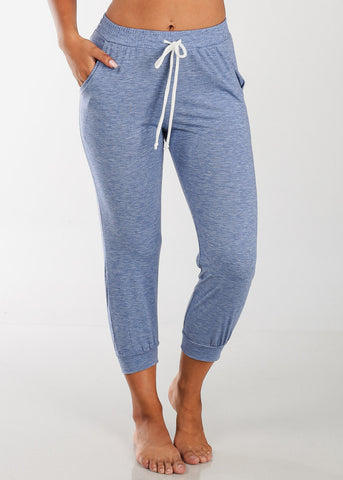 Discount Cropped Blue Jogger Pants