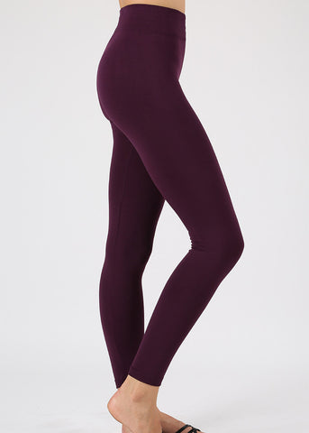 High Rise Fleece Plum Leggings