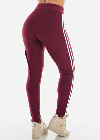 High Rise Stripe Cargo Burgundy Pants