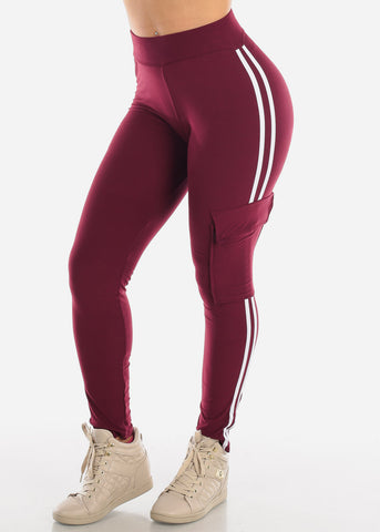 High Waisted Active Wear Stretchy Side Stripe Work Out Burgundy Pants