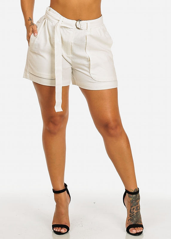 Belt Tie Linen White Shorts