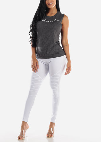 Image of High Waisted White Moto Skinny Pants