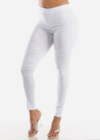 High Waisted White Moto Skinny Pants