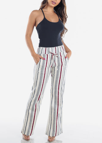 Image of Cute Lightweight Linen Red And White Stripe High Waisted Boho Style Wide Legged Pants For Women Ladies Junior