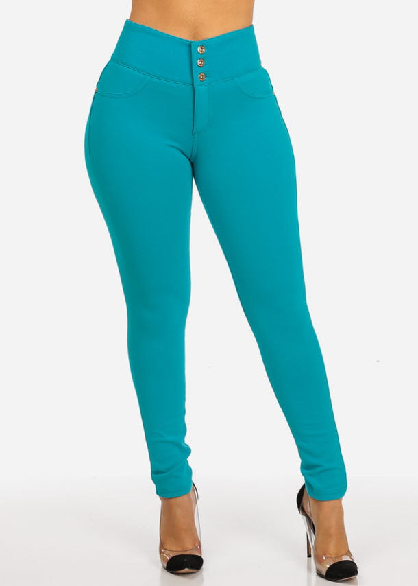 Teal 3-Button Skinny Pants