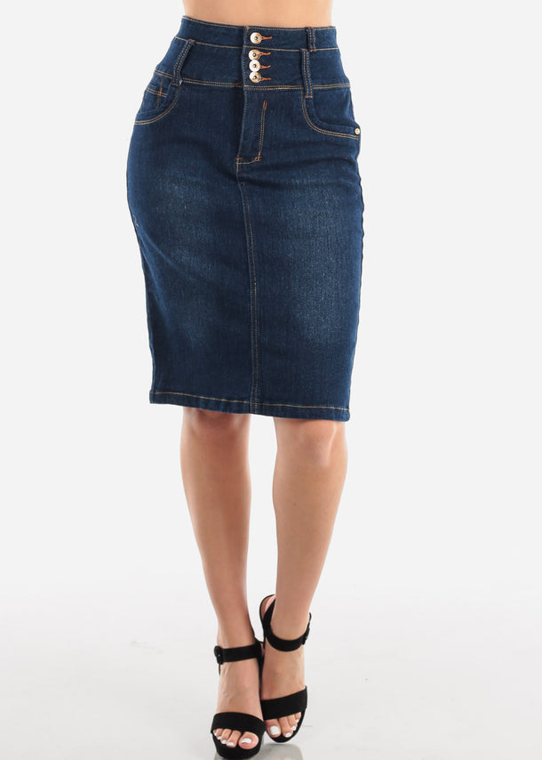 Women's Junior Ladies Must Have 4 Button High Waisted Butt Lifting Dark Wash Denim Pencil Skirt
