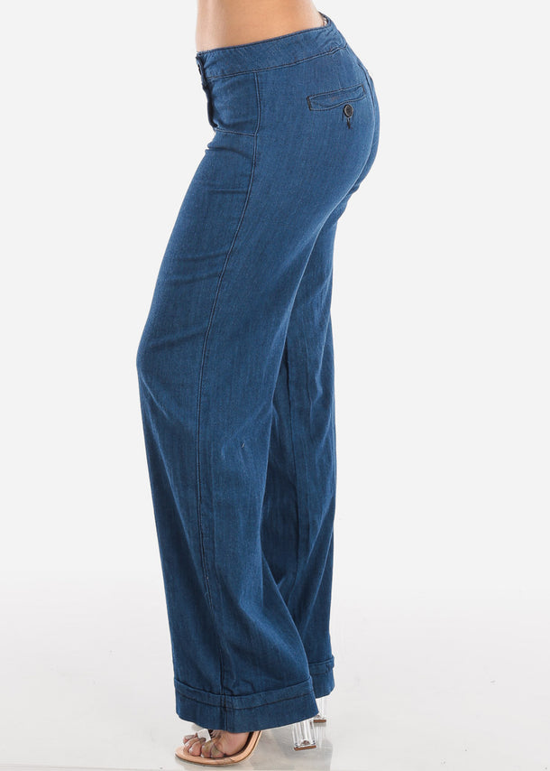 Low Rise Wide Legged Butt Lifting Navy Jeans