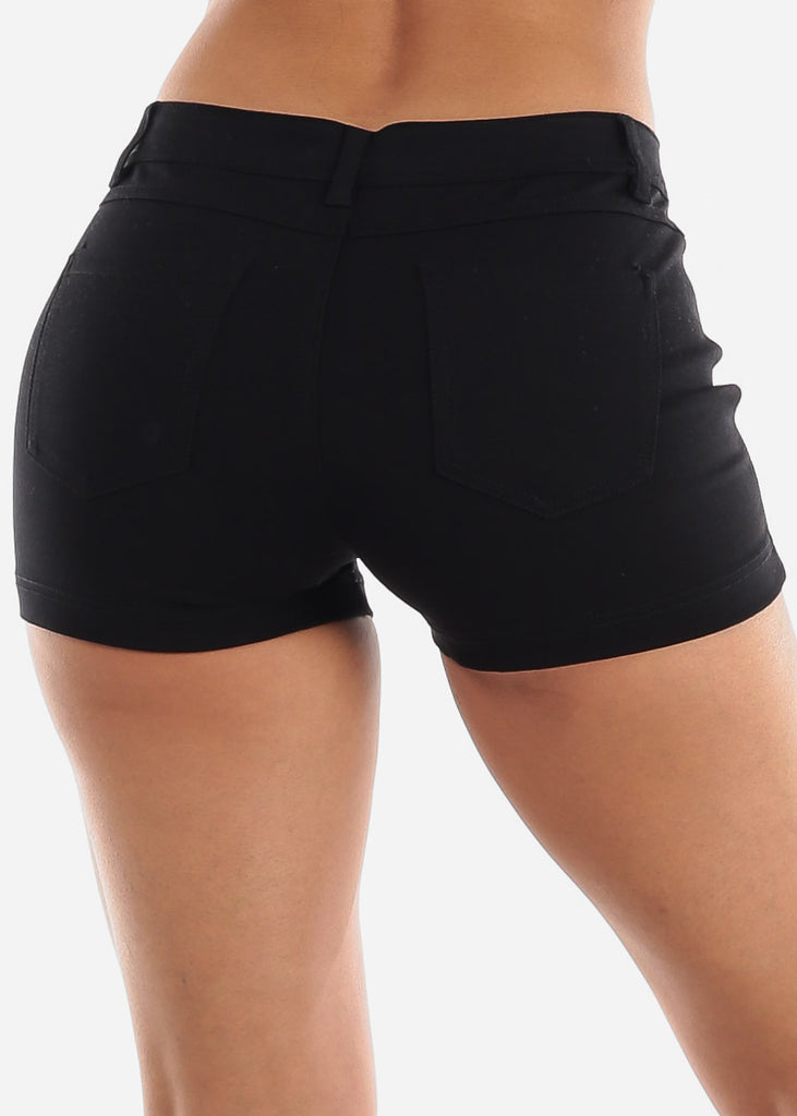 Black Casual Stretchy Shorty Shorts