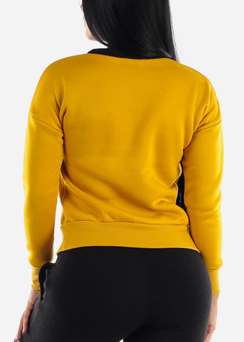 "Mustard & Black Long Sleeve Sweatshirt ""Good Life"""