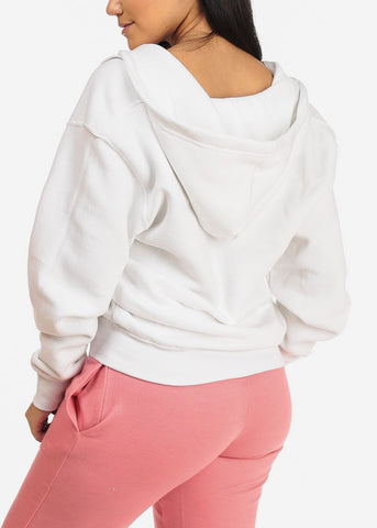 White Zip Up Sweater W Hood