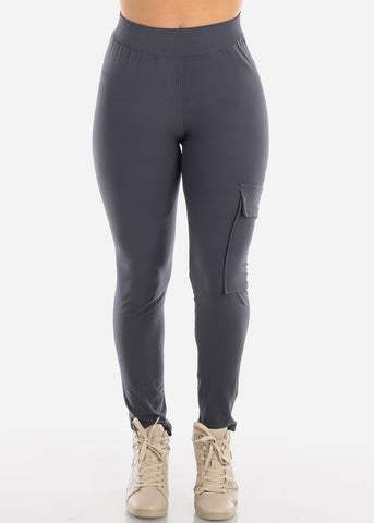 Image of High Waisted Activewear Cargo Workout Stretchy Charcoal Black Pants