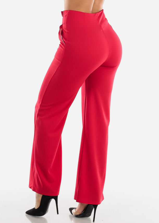 High Waisted Cinched Wide Leg Red Pants