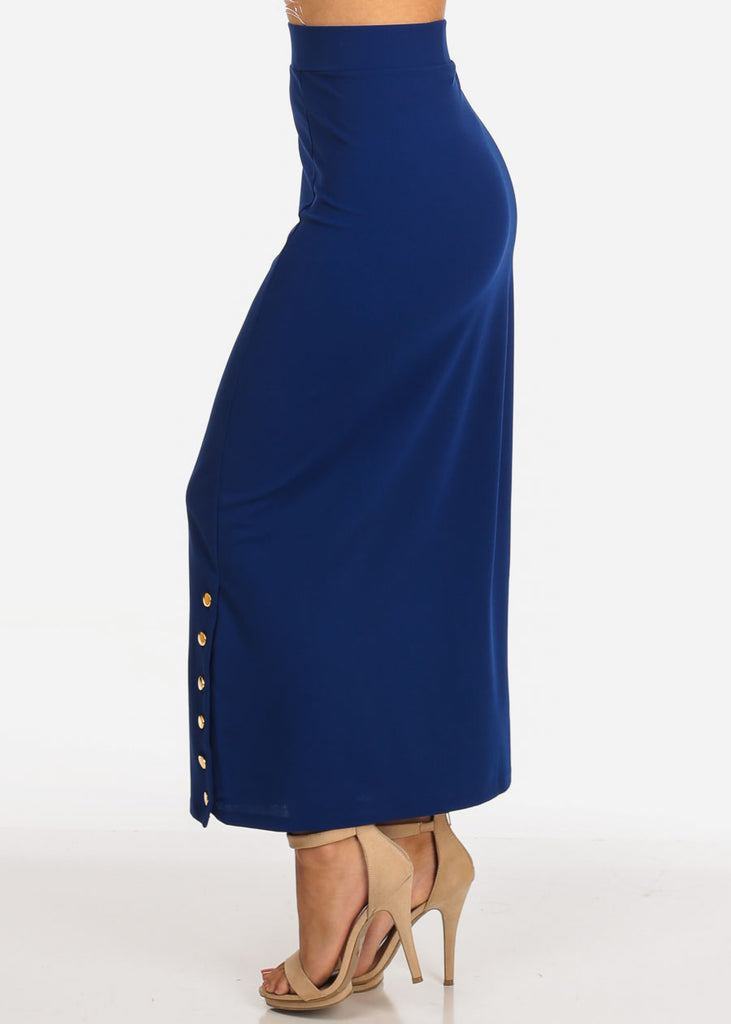 Women's Junior Ladies High Rise Dressy Royal Blue Maxi Skirt With Button Up Hem Slit