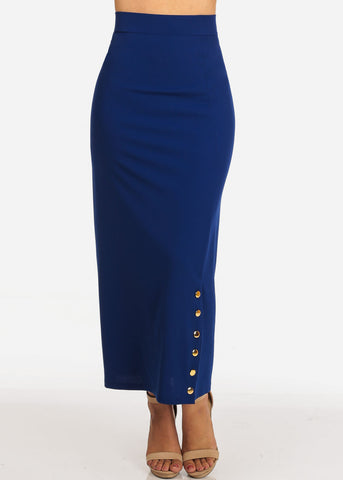 Image of Women's Junior Ladies High Rise Dressy Royal Blue Maxi Skirt With Button Up Hem Slit