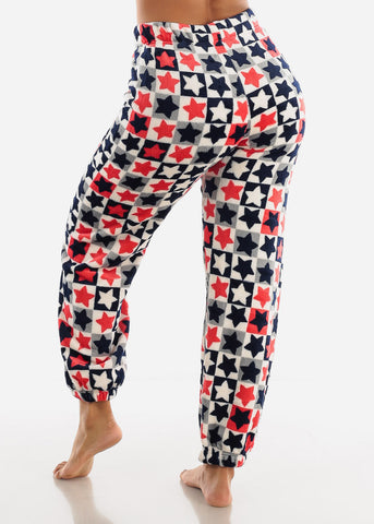 White Printed Plush Pajama Pants