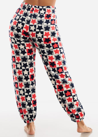 Image of White Printed Plush Pajama Pants
