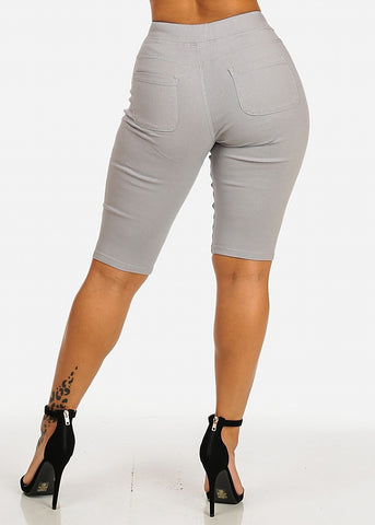 Drawstring Stretchy Grey Casual Capri