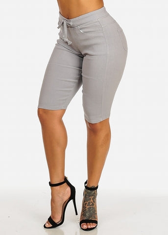 Image of Drawstring Stretchy Grey Casual Capri