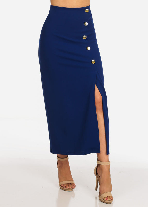 Women's Junior Ladies Sexy Dressy Casual Formal Business Professional Career Wear Front Gold Zipper Royal Blue Maxi Dressy Skirt