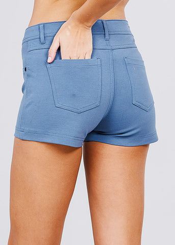 Blue Mid Rise Stretchy Shorts