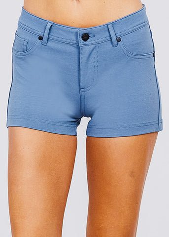 Image of Blue Mid Rise Stretchy Shorts