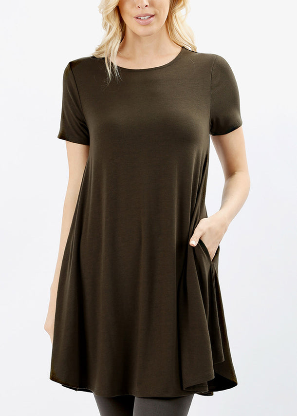 Round Hem Flared Olive Tunic Top