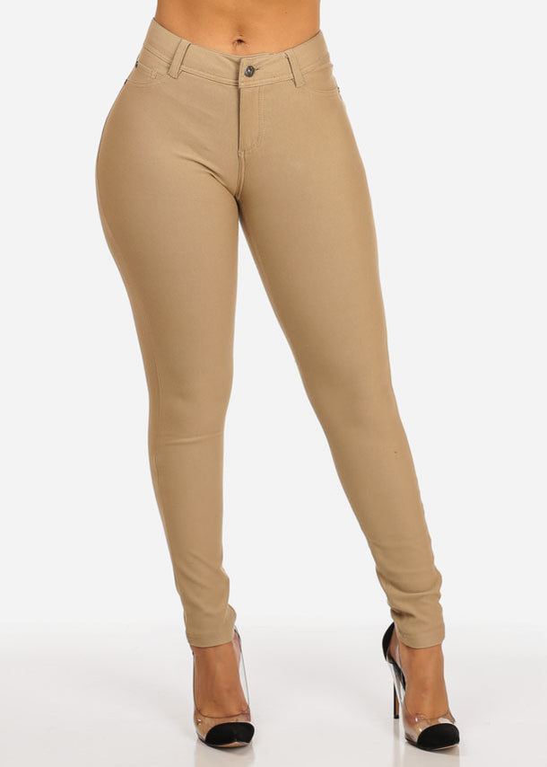 Mid Waist Zip Up Pants