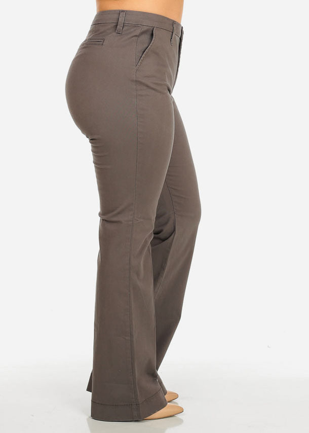 Classic High Waist Grey Pants